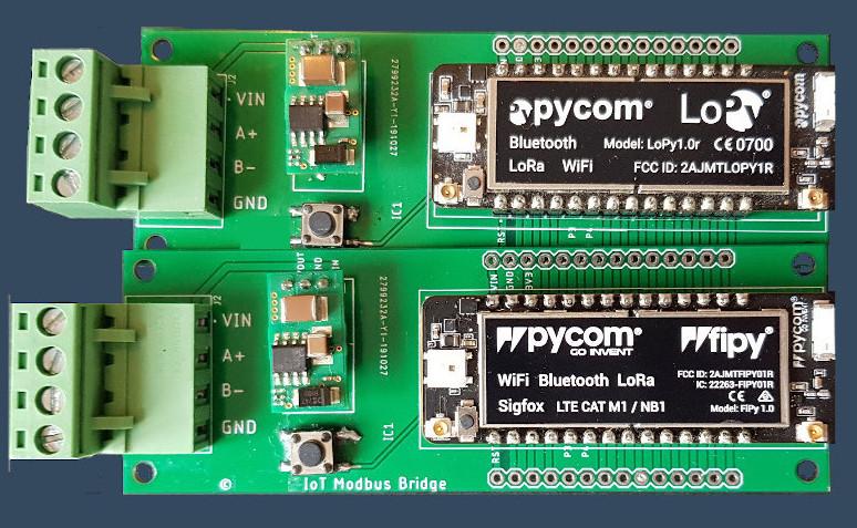 MODBUS RS485 to LoRaWan, NB-IoT, Sigfox or WIFI